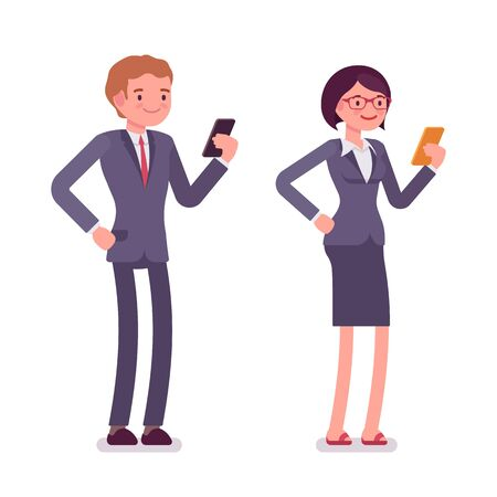 office wear: Office workers standing with smartphones. Men and women are in a formal wear. The set of characters isolated against the white background. Cartoon vector flat-style business illustration