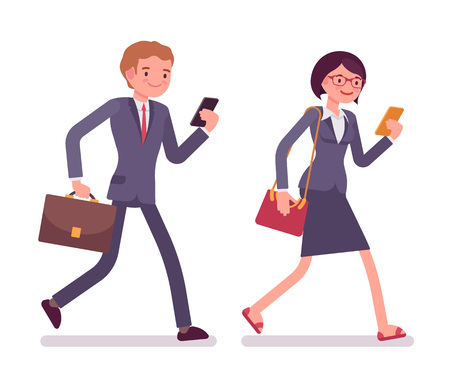 office wear: Office workers walking with smartphones. Men and women in a formal wear. The set of characters isolated against the white background. Cartoon vector flat-style business illustration Illustration