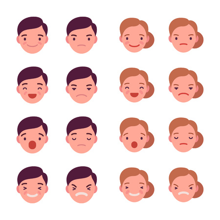 Set of 16 different emotions. Anger and joy. Surprised and hurt. Indifference and shock. Laughter and dream. Cartoon vector flat-style illustration