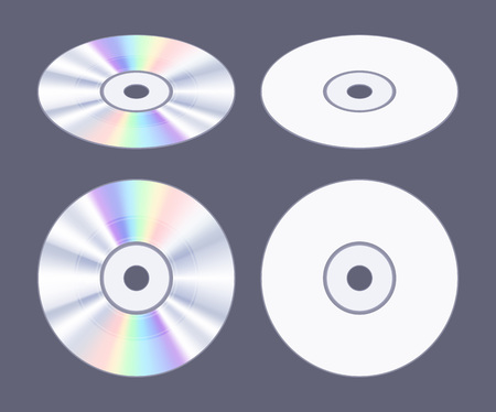 Isometric flat CD-DVD disk. The objects are isolated against the dark-purple background and shown from two sides Illustration