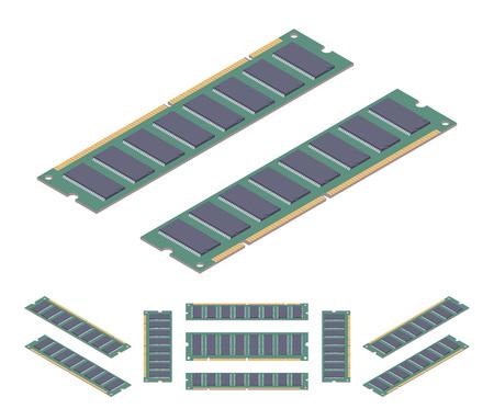 Isometrica scheda di memoria ram piatta. Gli oggetti sono isolati contro lo sfondo bianco e mostrati da diverse parti
