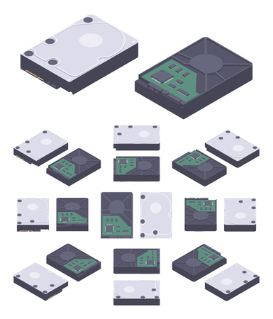 Isometric flat hdd, hard drive disk. The objects are isolated against the white background and shown from different sides Illustration