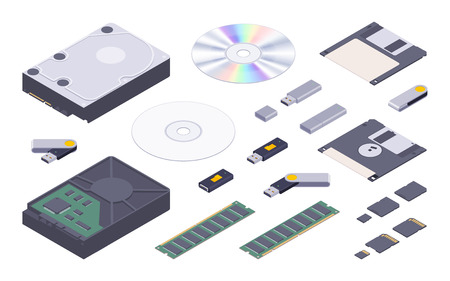 digital memory: Isometric flat digital memory storages set. The objects are isolated against the white background and shown from two sides