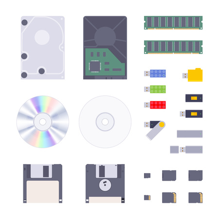 Digital memory storages set. The objects are isolated against the white background
