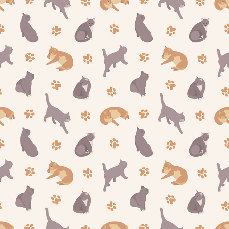 fully editable: Seamless pattern with the cats. The layout is fully editable Illustration