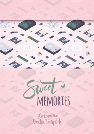 sd: Sweet memories vector decorating design. Colorful card template with copy space