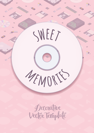 memories: Sweet memories vector decorating design. Colorful card template with copy space