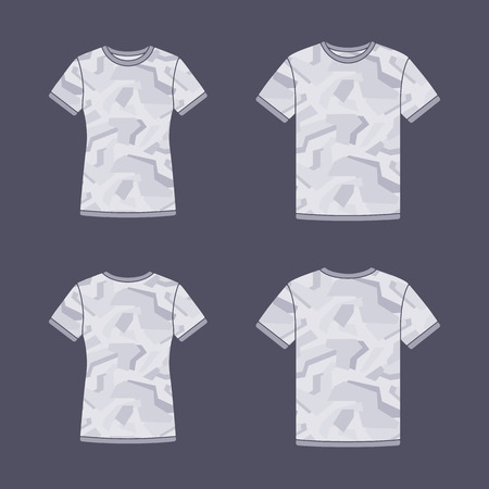 sleeve: Mens and womens white short sleeve t-shirts templates with the camouflage pattern. Front and back views. Vector flat illustrations