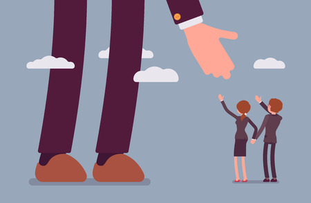 partisan: Helping hand for businessmen. Man and woman are in a formal wear. Sky background. Cartoon vector flat-style concept illustration