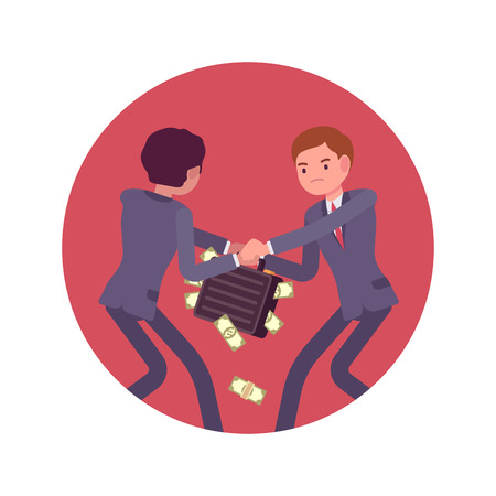 competitor: Struggle between businessmen in a formal wear for a case full of money against lilac basckground. Cartoon vector flat-style concept illustration