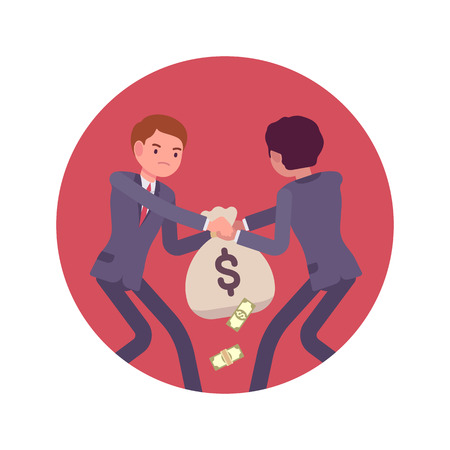 sac: Struggle between businessmen in a formal wear for a sack of money against lilac basckground. Cartoon vector flat-style concept illustration