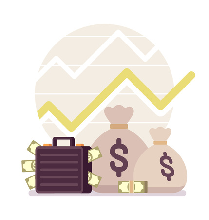 prolific: Big and small sack and case full of money, positive chart. Cartoon vector flat-style concept illustration