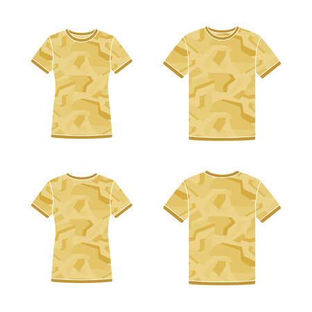 Mens and womens yellow short sleeve t-shirts templates with the camouflage pattern. Front and back views. Vector flat illustrations