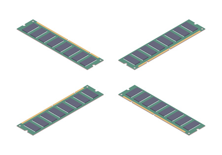 dimm: Isometric flat ram memory card. The objects are isolated against the white background and shown from different sides Illustration