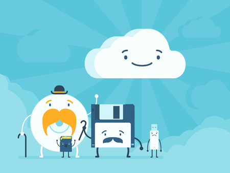 Old memory storages and cloud data service. Cartoon flat design vector conceptual illustration Illustration