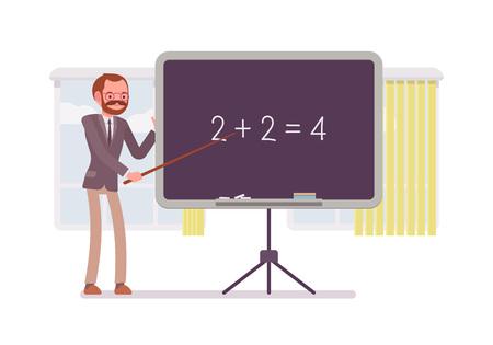 additional training: Male mathematic teacher is teaching maths on the blackboard against windows. Cartoon vector flat-style concept illustration Illustration