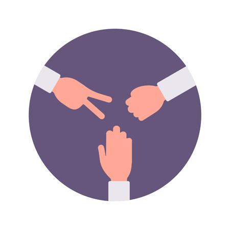 handsign: Paper, rock, scissors handsign in a purple circle. Cartoon vector flat-style concept illustration