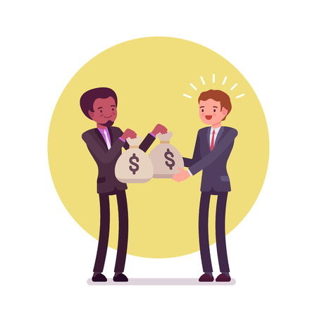 Black businessman is giving two sacks of money to white man. Cartoon vector flat-style concept illustration