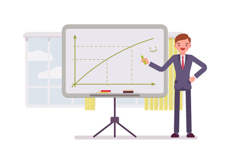 prolific: Man in a formal wear drew a positive graph on the whiteboard. Cartoon vector flat-style concept illustration Illustration