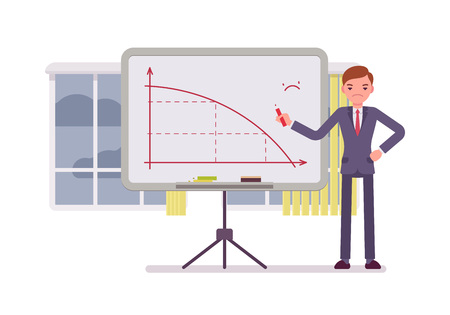 disapproving: Man in a formal wear drew a negative graph on the whiteboard. Cartoon vector flat-style concept illustration