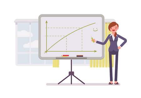 prolific: Woman in a formal wear drew a positive graph on the whiteboard. Cartoon vector flat-style concept illustration