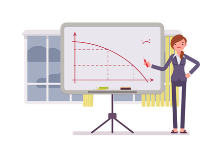 subdue: Woman in a formal wear drew a negative graph on the whiteboard. Cartoon vector flat-style concept illustration
