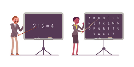 additional training: Teachers are teaching maths and alphabet on the blackboard. Cartoon vector flat-style illustration Illustration