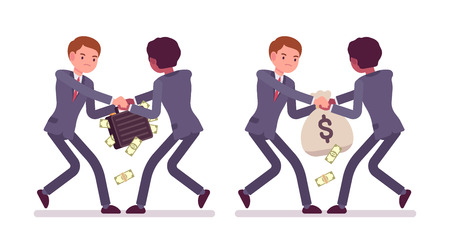 formal wear: Set of two businessmen pairs in a formal wear struggling for a case and sack full of money. Papernotes are falling down. Cartoon vector flat-style illustration Illustration