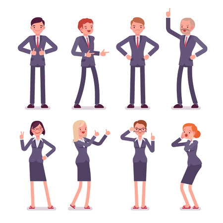 akimbo: Set of eight business male and female characters in a formal wear. Finger up, akimbo, gun, thumb up, surprised, instructive, strict, thumb up, victory. Cartoon vector flat-style illustration