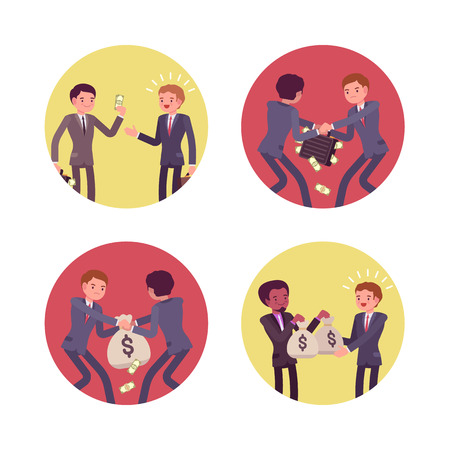 struggling: Set of four business scenes. Businessmen are handing, receiving and struggling for money. Cartoon vector flat-style concept illustration
