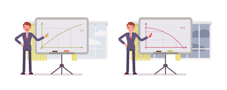negative returns: Set of two business scences. A man points to positive and negative charts on the whiteboard. Cartoon vector flat-style concept illustration Illustration