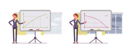 Set of two business scenes. A woman points to positive and negative charts on the whiteboard. Cartoon vector flat-style concept illustration Illustration