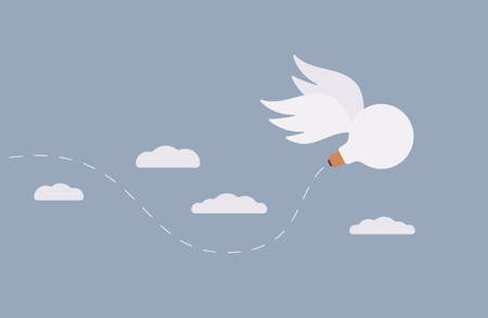 the stimulus: An idea, a bulb with wings is flying away in the sky. Cartoon vector flat-style concept illustration