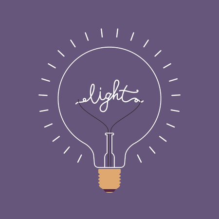 illustrious: Shining light bulb with a word Light from the metal wire inside. Purple background. Consept cartoon flat-style illustration
