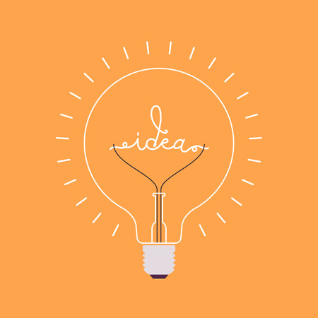 the stimulus: Shining light bulb with a word Idea from the metal wire inside. Orange background. Consept cartoon flat-style illustration