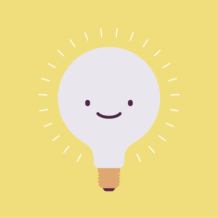 illustrious: Brightly flickering bulb with a smile. Yellow background. Consept cartoon flat-style illustration