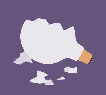 ravage: Broken light bulb against purple background, glass fragments are around. Vector flat-style illustration Illustration