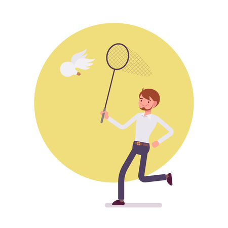 Man with a ringnet is trying to catch an idea, a bulb with wings. Cartoon vector flat-style concept illustration