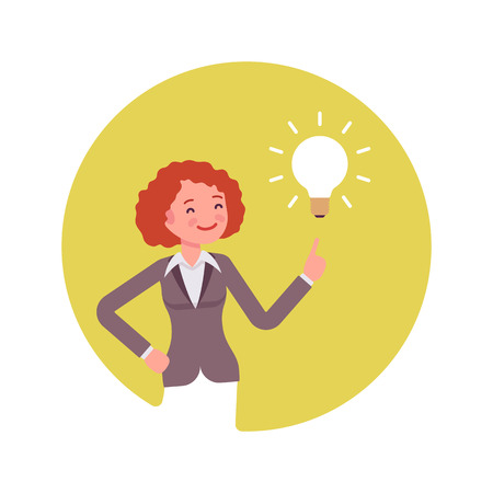 beaming: Woman points to a lamp. Yellow circle background. Cartoon vector flat-style concept illustration
