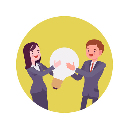 Man and woman hold together a light bulb. Yellow circle background. Cartoon vector flat-style concept illustration Illustration