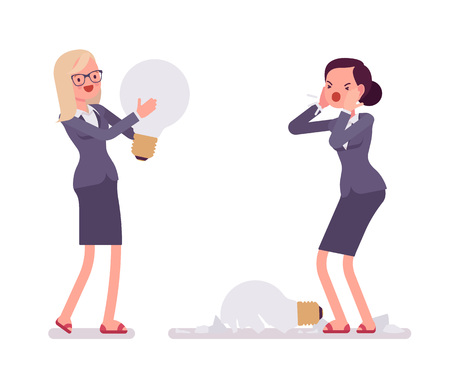 ravage: Businesswomen with light bulbs, one is broken. One is broken, glass fragments are around. Vector cartoon concept flat-style illustration