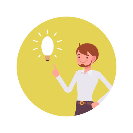 impression: Man points to a lamp. Yellow circle background. Cartoon vector flat-style concept illustration