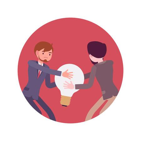 Struggle between businessmen in a formal wear for a lamp against red background. Cartoon vector flat-style concept illustration