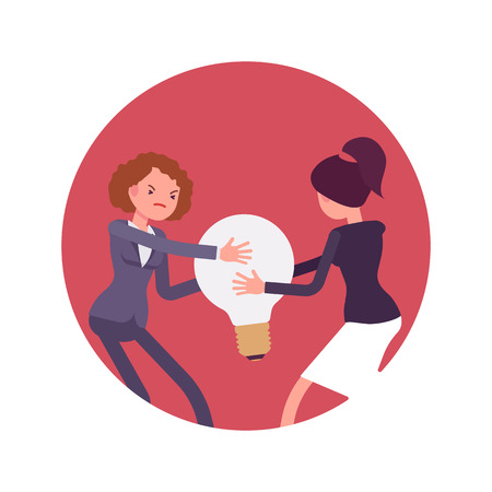 impulse: Struggle between women in a formal wear for a lamp bulb against red circle background. Cartoon vector flat-style concept illustration
