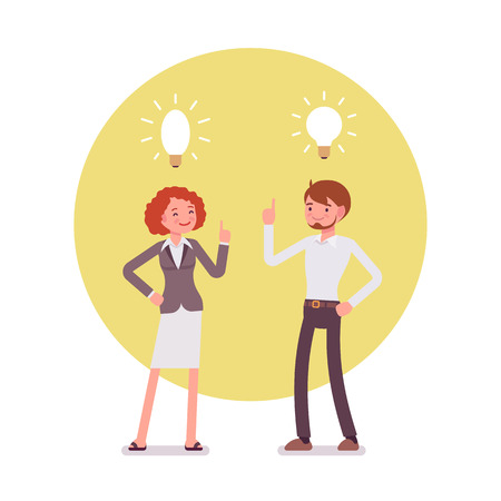 Man and woman are pointing to the lamp, idea. Yellow circle background. Cartoon vector flat-style concept illustration
