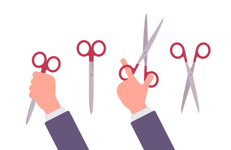 holds: Hand holds open and closed scissors. Cartoon vector flat-style illustration Illustration