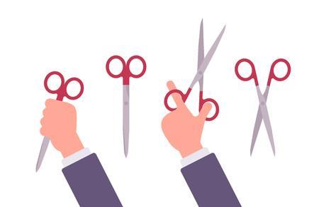 astute: Hand holds open and closed scissors. Cartoon vector flat-style illustration Illustration
