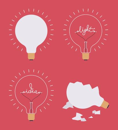 consept: Set of four light bulbs against crimson background. Lit, broken, with a word idea, light. Consept cartoon flat-style illustration. Illustration