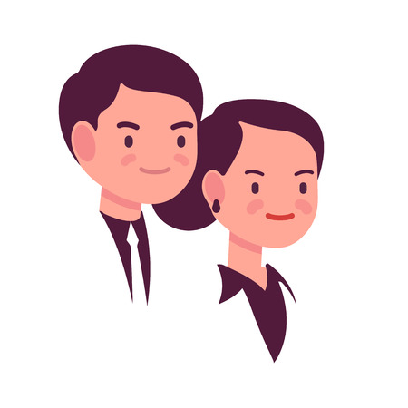 admirable: Portrait of a man and woman on a white backgorund. Cartoon vector flat-style illustration