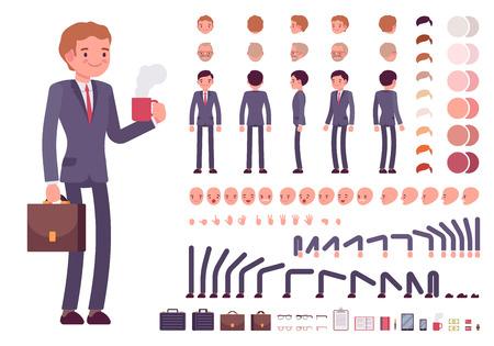 establece la creación del personaje del hombre de negocios. Construir su propio diseño. vector de dibujos animados al estilo de ilustración plana infografía